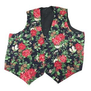 Vintage Poinsettia Holiday Ugly Christmas Vest